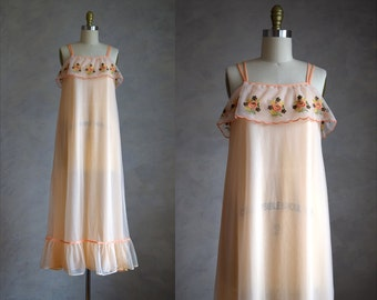 vintage 1960s pale peach nightgown   60s nylon chiffon lingerie   vintage 60s peignoir   ruffled and embroidered  nightie