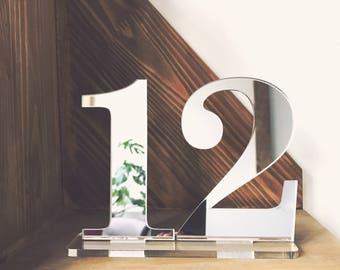 Wedding Decor - Wedding Table Numbers - Acrylic Table Number For Wedding - Silver Or Gold Wedding Table Number - Acrylic Table Decor