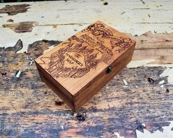 Harry Potter Book Box Collectibles Display Box Marauders Map Pyrography Hand Burned Wood Keepsake Box Treasure Memory Wood Burned Jewellery