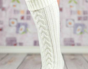 White Heavy Winter Boot Socks