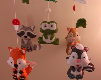 Forest Baby Mobile Woodland Mobile Nursery Decor Mobile Hanging BB Bedding Decor Baby Crib Mobile Cot Mobile Furniture Animals Dolls