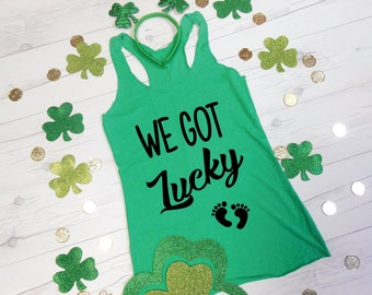 We Got Lucky Tank Top, Funny Maternity Tank, Funny Pregnancy Tank, Pregnant Top, Green St. Pattys Tank Pregnancy Announcement Tank Irish
