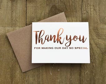 Pack of 10 copper foil wedding 'Thank you' Cards