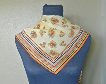 1970s Glentex Acetate Floral Scarf