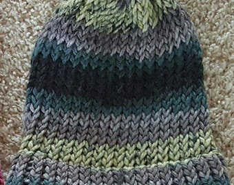 Green and Gray Striped Knit Hat