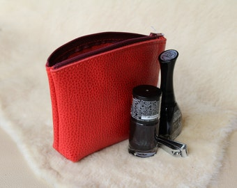 Red change purse; Red coin purse. zipper change purse