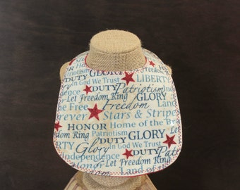 Patriotic Flannel bib with Snap Fastener layette shower gift baby gift drool bib