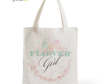 Tote Bag Wedding Flower Girl, romantic gift, typography, statement, quote