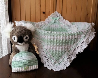 Crochet Baby Boy Blanket Set, Baby Boy Blanket and Hat set, Baby shower gift, Gift Set for Baby Boy