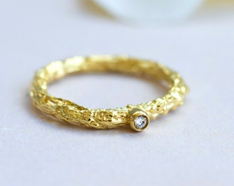 Diamond Twig Engagement Ring~Twig Engagement Ring~Simple Engagement Ring~Minimalist Engagement Ring~Raw Engagement Ring~Raw Jewelry~Raw Ring