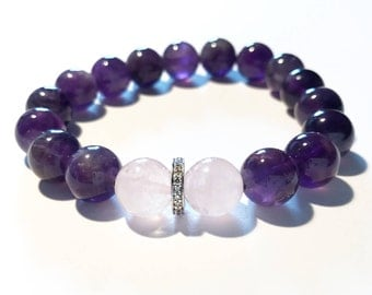 Purple amethyst, rose quartz and 0,22 carat pave diamond bracelet