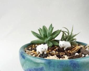 Miniature Ceramic White Bear Totem - Terrarium Figurine, Miniature Bear, Bear Figurine, Animal Figurine, Handmade Bear, Miniature Animal