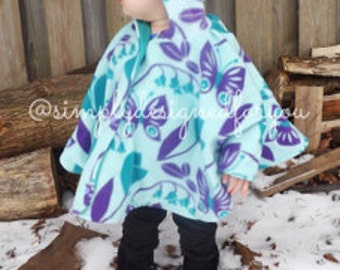 Blue and Purple Flower Poncho