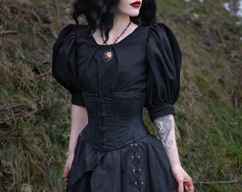 Gothic, Black Top, Puffed Sleeve, Victorian Blouse, Medieval, Renaissance, Goth Blouse, Handmade Blouse, Witch Top, Wicca top, Lolita