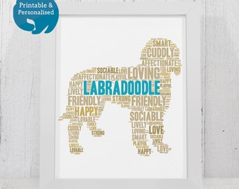 Labradoodle Print Personalised For Dog Lovers | Printable Personalized Word Art | Labradoodle Gift | Print Yourself | Labrador Poodle