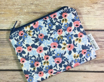 Coin Pouch, Change Purse, Coin Purse, Small Zipper Pouch, Rifle Paper Co, Fabric Pouch, Blue Floral, Mothers Day