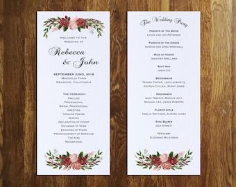 Fall Wedding Program Etsy