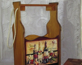 Box for two bottles of wine on. Decoupage.