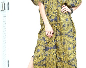 Black Yellow Printed Chiffon Beach Dress Swimsuit Bikini Cover Up | Casual Maxi Short Sleeve Dress | Spring/Summer Dress