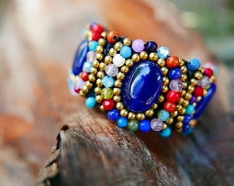 Colourful Blue Gold Art Beaded Jewelery Bangle braided with Rope I Hand Crafted Fantasy Beads Accessories
