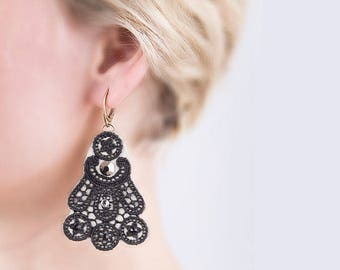 Lace earring black lace jewelry statement lace earring silver Swarovski earring wedding silver lace earring leather tatting lace jewelry