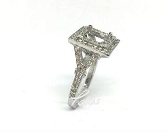 Ladies Split Shank Double Princess Halo Engagement Ring Mounting