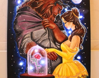 Beauty and the Beast LIGHT UP Painting 25x30cm