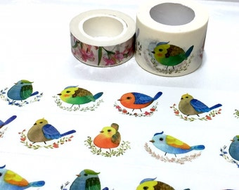 cute birds washi tape 10M x 3cm colorful silly bird fat bird Sparrow masking tape bird drawing wild bird sticker tape bird drawing decor