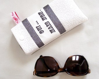 """""""Yes... glasses case But no.""""leatherette crackled white metallic silver and Silver Ribbon"""