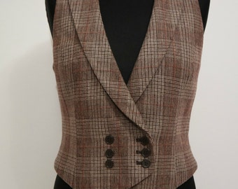 Vintage Women's Vest, Brown Vest, Checkered Vest, Short Vest, Sleeveless Top, Size S
