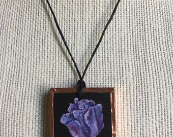 Handpainted tulip necklace, Purple flower pendant, Spring flower jewelry, Artistic necklace, Gift for mother, Gift for wife, Bridesmaid gift