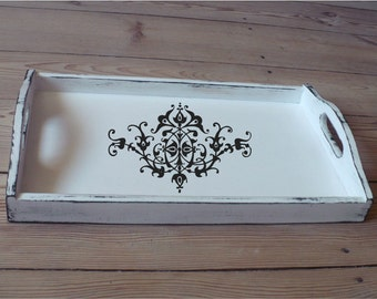 Breakfast Tray - Floral-Wood Serving Tray -White Wooden Tray - Shabby Chic Decor-Decorative Tray-Cottage Decor-Kitchen Decor -Bedroom Decor