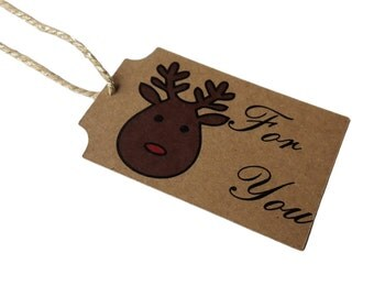 Set of 8 Christmas Red Nose Reindeer Gift Tag with Bakers Sparkle Twine