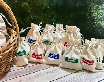Personalized Lego Brick Goodie Bag - Perfect for Building Blocks - Lego Themed Party Favor Gifts - Party Supply Drawstring Bag Cotton Pouch.