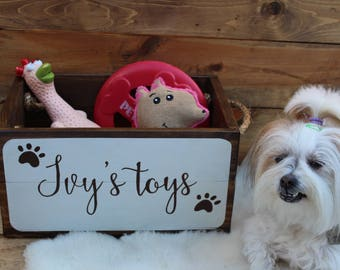 Dog Toy Bin, Pet Toy Box, Personalized Dog Toy Box, Pet Treasure Box, Wooden Crate, Doggy Toy Storage, Pooch Toy Bin, Pet