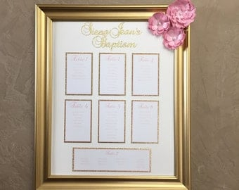 Pink and gold seating chart, framed seating chart, pink and gold seating chart