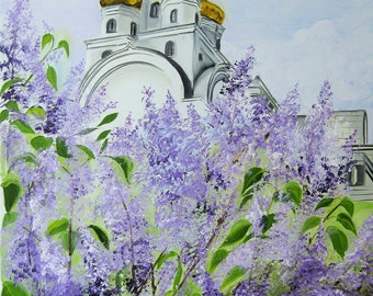 """A Church in Blooming Lilac. Original Painting on Canvas. Wall Art-Contemporary Art-Perfect Gift for Her. Large Painting. 2017, 16"""" x 20""""."""
