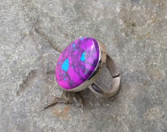 Turquoise statement ring - sterling silver