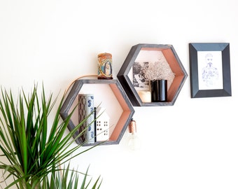 Hexagon Shelf / Floating Shelf - Copper paint with Ebony stain
