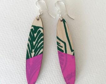 Wooden earrings--lightweight oval in Jungle Pink