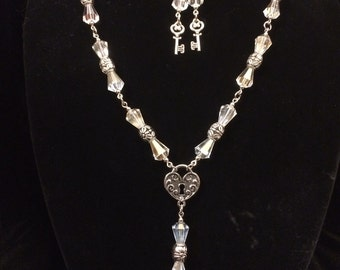 Crystal Hearts and Keys Necklace and Earrings Set