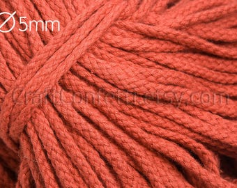 Terracotta cotton rope 5mm Colored rope Orange cord Terracotta cotton cord Raw for crafts Braiding cord Drawstring rope / 5 meters