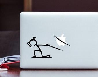 Stickman Samurai cut Apple MacBook Decal / Stick figure cutting Laptop Decal / iPad Decal vinyl sticker