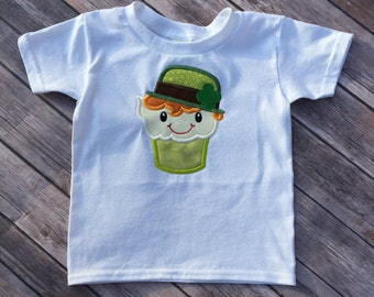 St Paddy's Day Leprechaun Cupcake Machine Embroidered T-Shirt or Onesie
