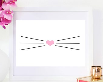 DIGITAL DOWNLOAD, Cat, Whiskers, Cat lover, Whiskers art, Cat art, Animal  Whisker, Pink Nose, Cat Lover, Cat Whiskers, Pink Cat, Cute Cat