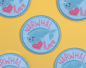 ON SALE! Narwhal Love Embroidered Patch | iron on adhesive woven embroidery patch
