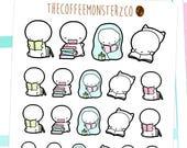 book nerd emotis - emoti planner stickers E074