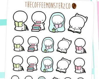book nerd emotis - emoti planner stickers E074