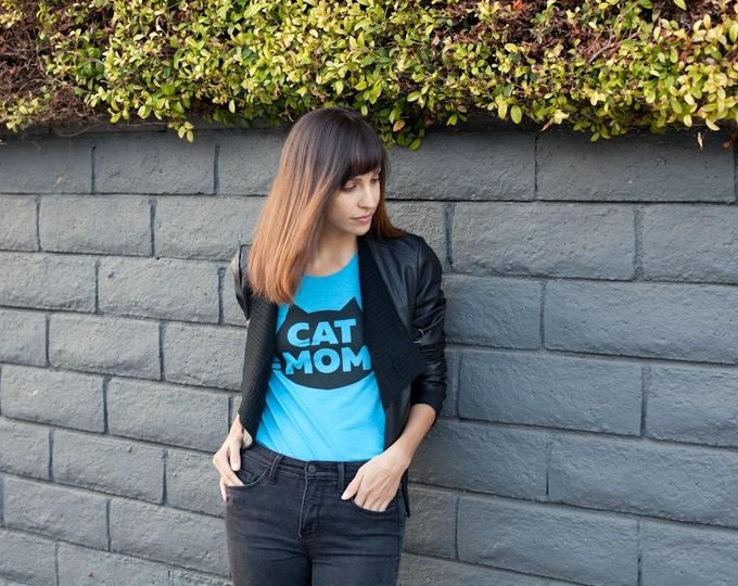 Featured listing image: Cat T-Shirt, Cat Mom T-shirt, Women's T-Shirt, Junior/Slim Fit Aqua t-shirt