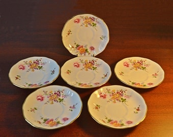 Set Of Six Royal Crown Derby Saucers, 1975 Derby Posies